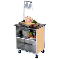Lakeside 626HRM Heavy-Duty Stainless Steel Three Shelf Flat Top Utility Cart with Enclosed Base and Hard Rock Maple Finish - 18 3/4 inch x 28 1/4 inch x 32 5/8 inch