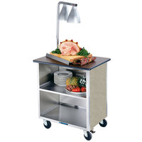 Lakeside 626BS Heavy-Duty Stainless Steel Three Shelf Flat Top Utility Cart with Enclosed Base and Beige Suede Finish - 18 3/4 inch x 28 1/4 inch x 32 5/8 inch