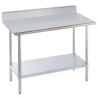 "Advance Tabco KSLAG-304-X 30"" x 48"" 16 Gauge Stainless Steel Work Table with Undershelf and Backsplash"
