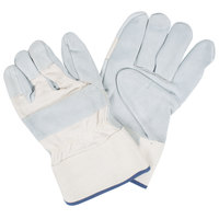 Tuf-Cor White Canvas Work Gloves with Heavy Side Split Leather Palm Coating and 2 1/2 inch Rubber Cuffs - Extra Large - Pair
