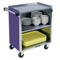 Lakeside 622P Medium-Duty Stainless Steel Three Shelf Utility Cart with Enclosed Base and Purple Finish - 19 inch x 30 3/4 inch x 33 7/8 inch