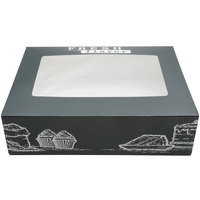14 inch x 10 inch x 4 inch White Auto-Popup Window Quarter Sheet Cake / Bakery Box with Fresh Print Design   - 100/Case