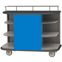 Lakeside 8715BL Stainless Steel Self-Serve Full-Size Hydration Cart with 6 Corner Shelves and Royal Blue Laminate Finish - 47 inch x 26 inch x 38 inch