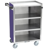 Lakeside 815-P Medium-Duty Stainless Steel Four Shelf Utility Cart With Enclosed Base and Purple Finish - 16 7/8 inch x 28 1/4 inch x 37 1/2 inch