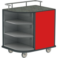 Lakeside 8713RD Stainless Steel Self-Serve Compact Hydration Cart with 3 Corner Shelves and Red Laminate Finish - 35 inch x 26 inch x 39 1/4 inch