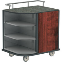 Lakeside 8713RM Stainless Steel Self-Serve Compact Hydration Cart with 3 Corner Shelves and Red Maple Laminate Finish - 35 inch x 26 inch x 39 1/4 inch