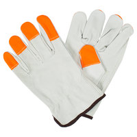 Standard Grain Cowhide Leather Driver's Gloves with Hi-Vis Orange Fingertips - Medium - Pair