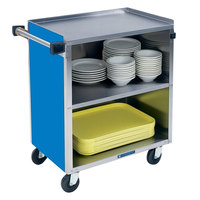 Lakeside 622BL Medium-Duty Stainless Steel Three Shelf Utility Cart with Enclosed Base and Royal Blue Finish - 19 inch x 30 3/4 inch x 33 7/8 inch