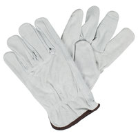 Gray Economy Split Cowhide Leather Driver's Gloves - Large - Pair