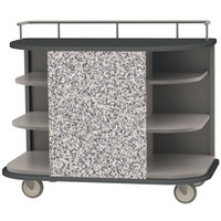 Lakeside 8715GS Stainless Steel Self-Serve Full-Size Hydration Cart with 6 Corner Shelves and Gray Sand Laminate Finish - 47 inch x 26 inch x 38 inch