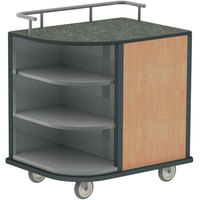Lakeside 8713HRM Stainless Steel Self-Serve Compact Hydration Cart with 3 Corner Shelves and Hard Rock Maple Laminate Finish - 35 inch x 26 inch x 39 1/4 inch