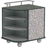 Lakeside 8713GS Stainless Steel Self-Serve Compact Hydration Cart with 3 Corner Shelves and Gray Sand Laminate Finish - 35 inch x 26 inch x 39 1/4 inch