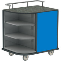Lakeside 8713-RB Stainless Steel Self-Serve Compact Hydration Cart with 3 Corner Shelves and Royal Blue Laminate Finish - 35 inch x 26 inch x 39 1/4 inch