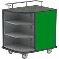 Lakeside 8713-G Stainless Steel Self-Serve Compact Hydration Cart with 3 Corner Shelves and Green Laminate Finish - 35 inch x 26 inch x 39 1/4 inch