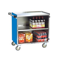 Lakeside 644BL Medium-Duty Stainless Steel Three Shelf Utility Cart with Enclosed Base and Royal Blue Finish - 22 1/2 inch x 39 1/4 inch x 37 7/8 inch