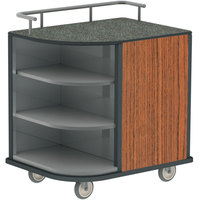 Lakeside 8713VC Stainless Steel Self-Serve Compact Hydration Cart with 3 Corner Shelves and Victorian Cherry Laminate Finish - 35 inch x 26 inch x 39 1/4 inch