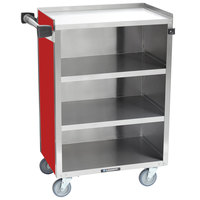 Lakeside 815-R Medium-Duty Stainless Steel Four Shelf Utility Cart With Enclosed Base and Red Finish - 16 7/8 inch x 28 1/4 inch x 37 1/2 inch