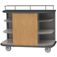 Lakeside 8715HRM Stainless Steel Self-Serve Full-Size Hydration Cart with 6 Corner Shelves and Hard Rock Maple Laminate Finish - 47 inch x 26 inch x 38 inch
