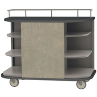 Lakeside 8715BS Stainless Steel Self-Serve Full-Size Hydration Cart with 6 Corner Shelves and Beige Suede Laminate Finish - 47 inch x 26 inch x 38 inch