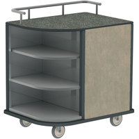 Lakeside 8713BS Stainless Steel Self-Serve Compact Hydration Cart with 3 Corner Shelves and Beige Suede Laminate Finish - 35 inch x 26 inch x 39 1/4 inch