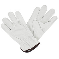 Standard Grain Cowhide Leather Driver's Gloves with Wraparound Forefingers - Large - Pair