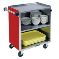 Lakeside 622RD Medium-Duty Stainless Steel Three Shelf Utility Cart with Enclosed Base and Red Finish - 19 inch x 30 3/4 inch x 33 7/8 inch