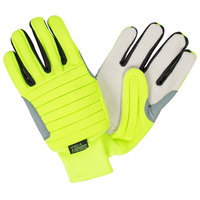 Colossus IV Hi-Vis Lime Spandex Gloves with Canvas Palm Coating - Extra Large - Pair