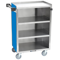 Lakeside 815-RB Medium-Duty Stainless Steel Four Shelf Utility Cart With Enclosed Base and Royal Blue Finish - 16 7/8 inch x 28 1/4 inch x 37 1/2 inch