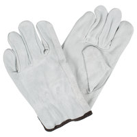 Gray Select Split Cowhide Leather Driver's Gloves - Large - Pair
