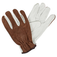 Select Grain Cowhide Leather Driver's Gloves with Brown Split Leather Backs - Medium - Pair