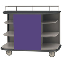 Lakeside 8715P Stainless Steel Self-Serve Full-Size Hydration Cart with 6 Corner Shelves and Purple Laminate Finish - 47 inch x 26 inch x 38 inch