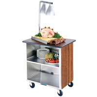 Lakeside 646VC Heavy-Duty Stainless Steel Three Shelf Flat Top Utility Cart with Enclosed Base and Victorian Cherry Finish - 22 inch x 36 inch x 36 5/8 inch