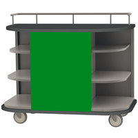 Lakeside 8715G Stainless Steel Self-Serve Full-Size Hydration Cart with 6 Corner Shelves and Green Laminate Finish - 47 inch x 26 inch x 38 inch