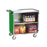 Lakeside 644G Medium-Duty Stainless Steel Three Shelf Utility Cart with Enclosed Base and Green Finish - 22 1/2 inch x 39 1/4 inch x 37 7/8 inch