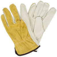 Select Grain Pigskin Leather Driver's Gloves with Brown Split Pigskin Leather Backs - Large - Pair