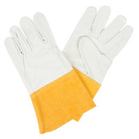 Standard Grain Leather Welder's Gloves with Russet Split Leather Cuffs - Large - Pair