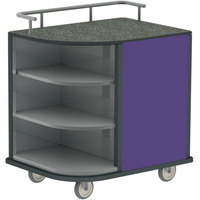 Lakeside 8713P Stainless Steel Self-Serve Compact Hydration Cart with 3 Corner Shelves and Purple Laminate Finish - 35 inch x 26 inch x 39 1/4 inch
