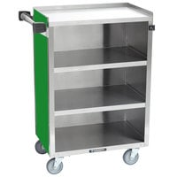 Lakeside 815G Medium-Duty Stainless Steel Four Shelf Utility Cart With Enclosed Base and Green Finish - 16 7/8 inch x 28 1/4 inch x 37 1/2 inch