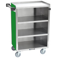 Lakeside 815-G Medium-Duty Stainless Steel Four Shelf Utility Cart With Enclosed Base and Green Finish - 16 7/8 inch x 28 1/4 inch x 37 1/2 inch