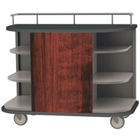 Lakeside 8715RM Stainless Steel Self-Serve Full-Size Hydration Cart with 6 Corner Shelves and Red Maple Laminate Finish - 47 inch x 26 inch x 38 inch