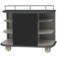 Lakeside 8715B Stainless Steel Self-Serve Full-Size Hydration Cart with 6 Corner Shelves and Black Laminate Finish - 47 inch x 26 inch x 38 inch