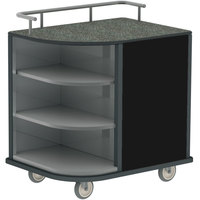 Lakeside 8713B Stainless Steel Self-Serve Compact Hydration Cart with 3 Corner Shelves and Black Laminate Finish - 35 inch x 26 inch x 39 1/4 inch