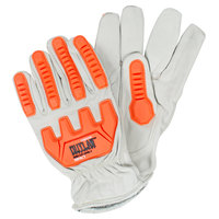 Outlaw Impact Premium Grain Cowhide Leather Driver's Gloves with TPR Protectors - Medium - Pair