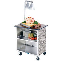 Lakeside 646GS Heavy-Duty Stainless Steel Three Shelf Flat Top Utility Cart with Enclosed Base and Gray Sand Finish - 22 inch x 36 inch x 36 5/8 inch