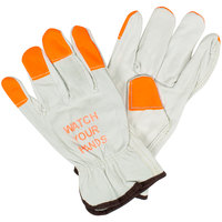 Standard Grain Cowhide Leather Driver's Gloves with Hi-Vis Orange Fingertips and Watch Your Hands Warning - Medium - Pair