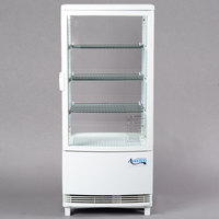 Avantco GSM-3-2-HC White Glass Sided Pass-Through Countertop Display Refrigerator