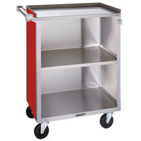 Lakeside 810RD Medium-Duty Stainless Steel Three Shelf Utility Cart With Enclosed Base and Red Finish - 16 7/8 inch x 28 1/4 inch x 34 1/2 inch