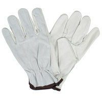 Select Grain Cowhide Leather Driver's Gloves with Gray Split Leather Backs - Large - Pair
