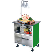 Lakeside 646G Heavy-Duty Stainless Steel Three Shelf Flat Top Utility Cart with Enclosed Base and Green Finish - 22 inch x 36 inch x 36 5/8 inch - 22 inch x 36 inch x 36 5/8 inch