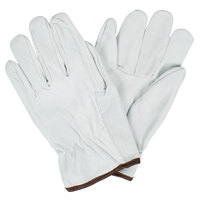 Gray Standard Grain Goatskin Leather Driver's Gloves with Straight Thumbs - Medium - Pair